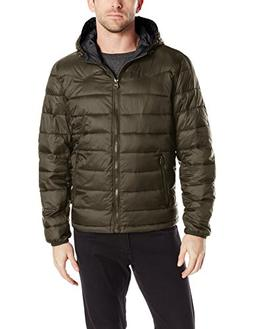 Levi's Men's Nylon Lightweight Puffer Hoodie Jacket, Olive,