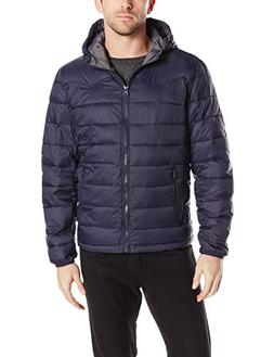 Levi's Men's Nylon Lightweight Puffer Hoodie Jacket, Navy, L