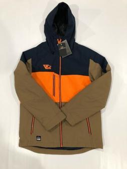 O'Neill Men Exile Insulated Ski Snow Jacket Navy Tan Orange