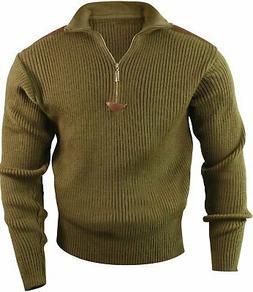 Olive Drab Acrylic Commando Military Quarter Zip Sweater wit