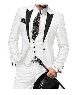 One Button 3 Pieces White Wedding Suits Notch Lapel Men Suit