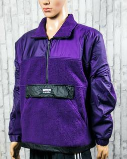 Adidas Originals R.Y.V Mens Half Zip Sherpa Track Jacket Leg