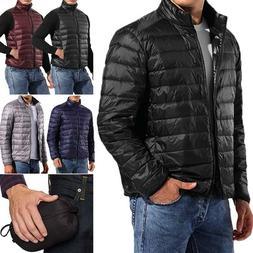 Packable Light Men Down Puffer Jacket Bubble Ski Coat Quilte