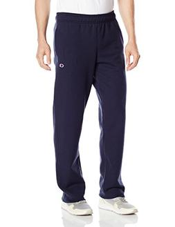 Champion Men's Powerblend Sweats Open Bottom Pants Navy L