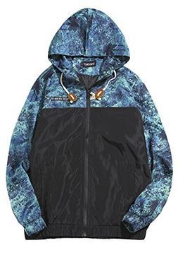 QZUnique Men's Print Zipper Hooded Jacket Lake Blue US L/Asi
