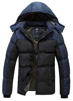 Wantdo Men's Puffer Jacket Thicken Padded Winter Coat with R