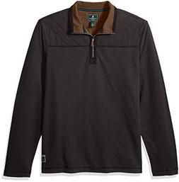 G.H. Bass & Co. Men's Quilted 1/2 Zip Fleece, Black Heather,