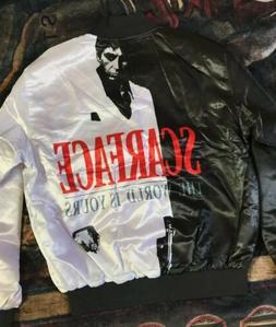 Scarface Fanimation Mens Bomber Jacket Button Up Vintage Sty