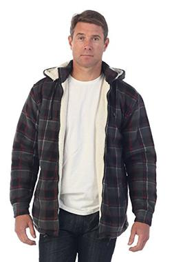 Gioberti Mens Sherpa Lined Flannel Jacket with Removable Hoo