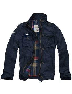 Mens CALI HOLI Flannel Lined Military Cargo Jacket Navy 1550