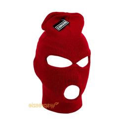 Red Ski Mask Beanie 3 Hole Knitted Cap Hat Warm Face Winter