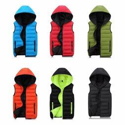 Sleeveless Jacket for Men Women Fashion Warm Hooded Winter V