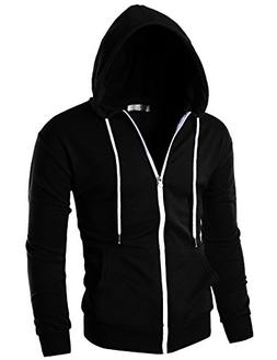 Ohoo Mens Slim Fit Long Sleeve Lightweight Zip-up Hoodie wit
