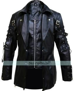 STOCK CLEARANCE 60% OFF, Steampunk Gothic Men Leather Black