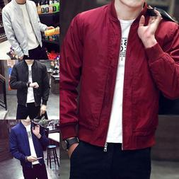 Mens Casual Fashion Bomber Jacket Winter Warm Baseball Coat