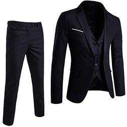WULFUL Men's Suit Slim Fit One Button 3-Piece Suit Blazer
