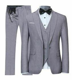 YIMANIE Suit, Slim Fit 2 Button, 3 Piece Suit, Jacket Vest T