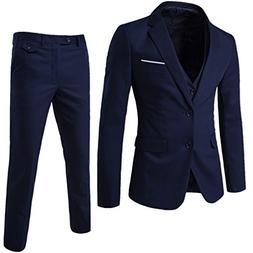 YIMANIE Men's Suit Slim Fit 2 Button 3 Piece Suits Jacket Ve