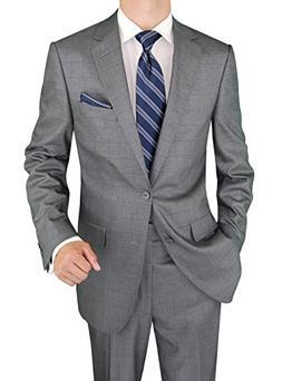 Salvatore Exte Men's Suit Two Button Jacket Flat Front Pants