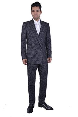 Versace Tailor Men's Made 100% Wool Gray Checkered Two Butto