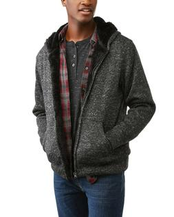 Climate Concepts Men's Textured Sherpa Lined Fleece Hoodie S