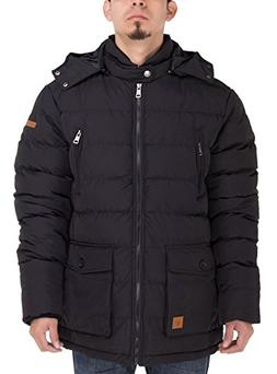 Luciano Natazzi Mens Thermal Padded Down Jacket Removable Ho