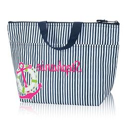 Thirty One Thermal Tote in Navy Pinstripe with Anchor - No M