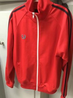 Fred Perry Track Jacket Mens Small Full Zip, Red With Black