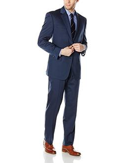 Bill Blass Men's Trent 2 Button Side Vent Suit with Flat Fro