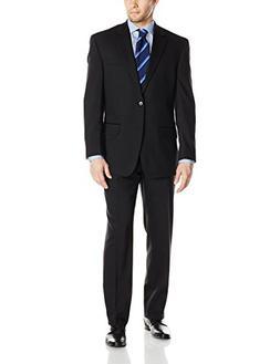 Bill Blass Men's Trent 2 Button Side Vent Woolen Suit with F