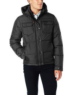 Levi's Men's Two Pocket Puffer Hooded Jacket, Black, Medium