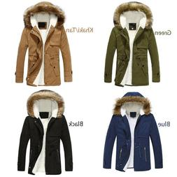Unisex Women Mens Winter fur Hooded Parka Jacket Coat