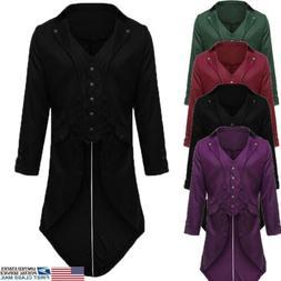 US Autumn Men Women Vintage Victorian Swallow-tailed Jacket