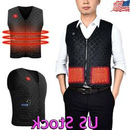 US Electric USB Heated Warm Vest Men Women Heating Coat Jack