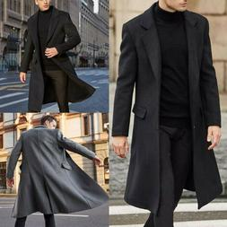 US Fashion Men Winter Warm Overcoat Wool Coat Trench Coat Ou