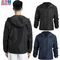 US Men Lightweight Windbreaker Jacket Waterproof Hooded Jack