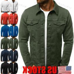US Men's Casual Slim Fit Classic Retro Thicken Coat Jean Den
