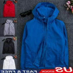 US Men's Fashion Windbreaker ZIPPER Jacket Hoodie Sports Out