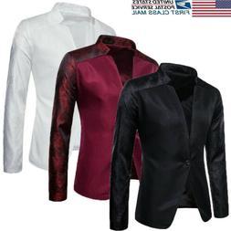 US Men's Jacket Business Blazer Tops Button Tuxedo Formal Co