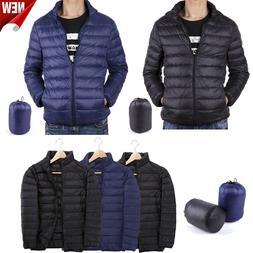 US Men's Packable Down Jacket Ultralight Stand Collar Coat W