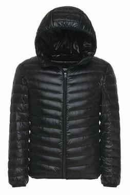 US Men's Winter Warm Hooded Ultralight Down Jacket Packable