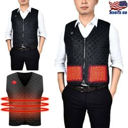 US Men Women Electric USB Heated Warm Vest Heating Coat Jack