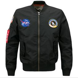 us mens embroidered nasa jacket military army