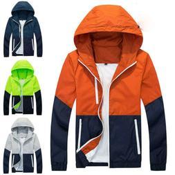 US Mens Waterproof Windbreaker Zipper Jacket Hoodie Light Sp