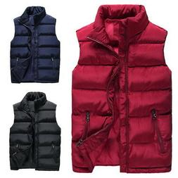 US Mens Winter Down Zipper-up Quilted Vest Warm Sleeveless P