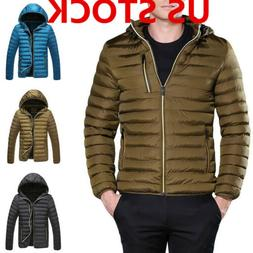 US Mens Winter Warm Quilted Cotton Jacket Coat Padded Hooded