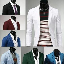 US Seller Men Stylish Slim Fit One Button Blazers Lightweigh