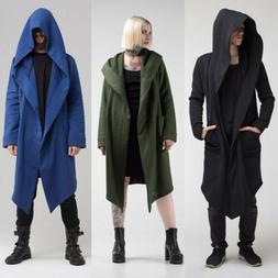 US STOCK Women Men Outwear Hooded Coat Long Trench Jacket Wa