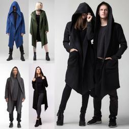 USA Men Women Cardigan Hooded Long Cloak Cape Coats Loose Ca