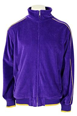Purple Velour Track Jacket with Yellow Piping